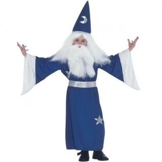 Kinder ZAUBERER KOSTÜM Gr. 128 für 3-7 J. Magier Merlin Karneval Halloween #8266