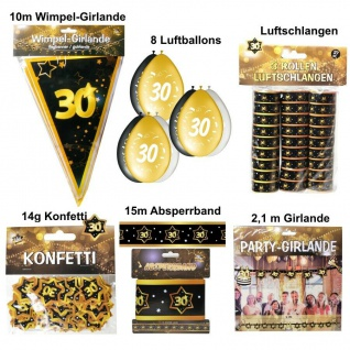 Großes Party Deko Set 30. Geburtstag 30 Jahre Zubehör Gold Jubiläum (Set 2)