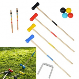 Kinder Krocket Set Holz Spiel Croquet Crocket Krokett Kroket Kroquet 4 Spieler
