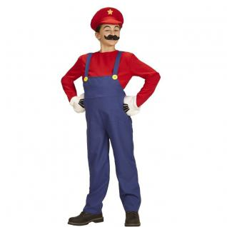 Super Mario Bros. Mario KLEMPNER Kinder Kostüm - 158 - Karneval Fasching #8708