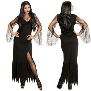 DARK LADY Damen Kostüm S (34/36) schwarzes Kleid Hexe Vampir Gothic Halloween