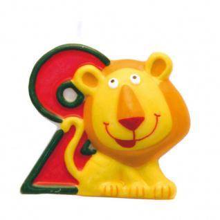 Kerze 2 Safari Tiere - Geburtstagskerze - Dschungel - Zahlenkerze Kinder Motive