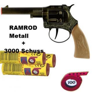 RAMROD Western Metall Knall-Pistole mit 3000 Schuß Kinder Spielzeug Revolver