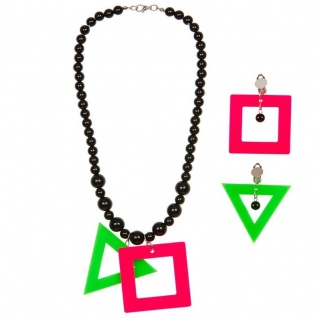 Neon Halskette + Ohrringe 80er Jahre Mode Schmuck Hals Kette Kostüm Zubehör #838