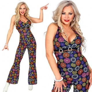 70er Disco Girl Damen Kostüm Overall mit Schlag Jumpsuit - Groovy Hippie #0500