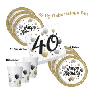 Party-Set 40 Geburtstag Happy Birthday 16 Becher 16 Teller 20 Servietten