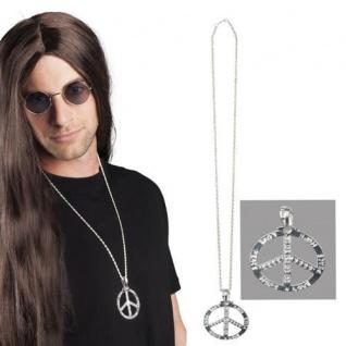 Peace Anhänger silber Metallkette Frieden Hippie Schmuck Halskette PORTOFREI