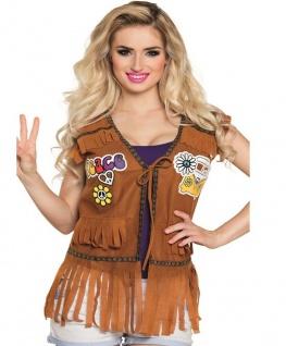 Hippie Jacke Fransenweste Damen Kostüm 60er 70er Jahre Flower Power Weste # 4528