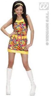 HIPPIE DAMEN SAMTKLEID Gr. L 42 - 44 Peace & Love Motto Party Kostüm 7326
