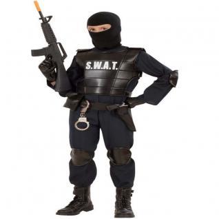 7 tlg. S.W.A.T AGENT Polizei Komplett Kostüm Kinder 116, 128, 140, 158, 164 SWAT