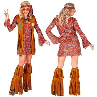 70er Flower Power Hippie Outfit Damen Kostüm M 38/40 Kleid im Fransen-Look #2862