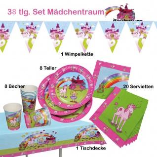 38.tlg-Spar-Set Mädchentraum Einhorn Kinder-Geburtstag-Party-Deko-Teller-Becher