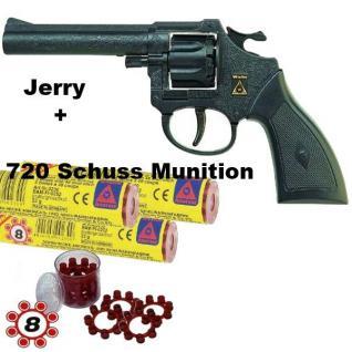 Revolver JERRY Knall-Pistole mit 720 Schuß Munition Kinder Spielzeug Sohni-Wicke
