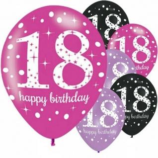 6 x Luftballons 18. Geburtstag pink lila schwarz Geburtstags-Deko Party Feier