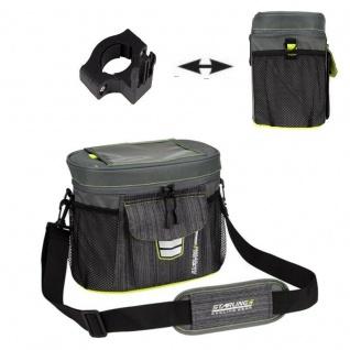 Starling® LENKERTASCHE Tasche CLIP-ON Halter Fahrradtasche NEU! Anthrazit/Limone