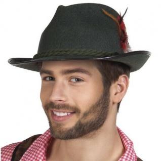 Tiroler Hut Bayernhut Trachten Hut mit Feder Oktoberfest dunkelgrün # 4236