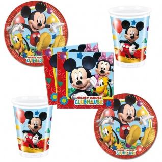 Micky Maus PartySet Becher Servietten Pappteller Mickey Mouse Geburtstag 52 tlg.
