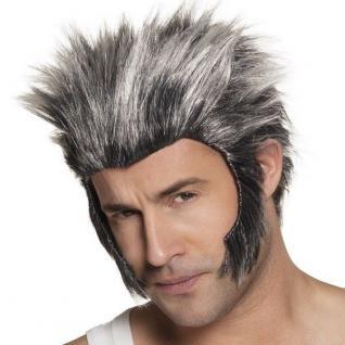 WERWOLF WOLF Herren Perücke grau/schwarz - Halloween Karneval NEU #5989