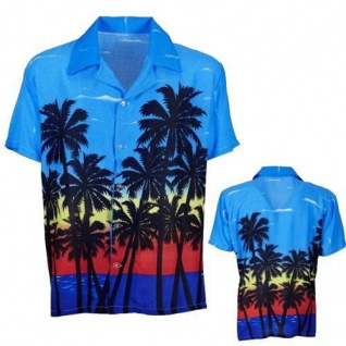 Hawaiihemd Hawaii Hawai Hemd Palm Beach blau rot gelb Palmen M/L XL