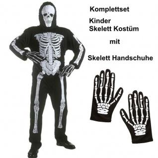 KINDER SKELETT Kostüm mit HANDSCHUHE Gr.128-158 Halloween Kinderskelett Gespenst