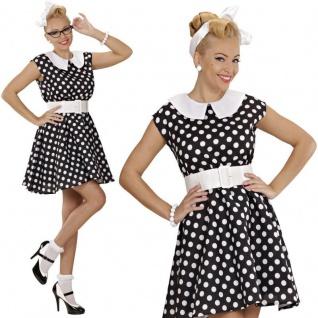 50er Petticoat pünktchen Kleid Rock´n Roll schwarz Damen Kostüm L 42/44 #5829