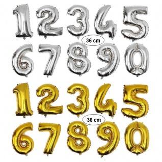 Folienballon Zahlenballon Höhe 36cm Gold / Silber Auswahl Zahl 0 - 9 Geburtstag
