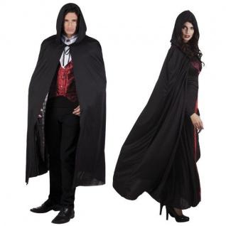 UMHANG MIT KAPUZE schwarz Cape 180cm - Kostüm Karneval Venedig Vampir Dracula