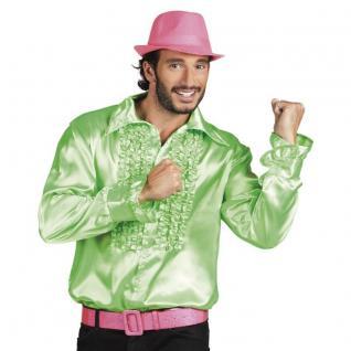 RÜSCHENHEMD Herren hell grün 70er Kostüm Disco Rüschen Motto Party Hemd Gr.48-60