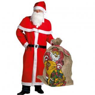 Weihnachtsmann Mantel Kostüm-Set 6-teilig mit großem JUTESACK Nikolaus 0507