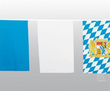 10 m Maxi Fahnenkette Bayern Party Oktoberfest Girlande weiss / blau wetterfest