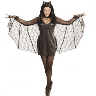 sexy FLEDERMAUS BAT Damen Kostüm XL (46-48) Halloween Kleid mit Flügel und Ohren