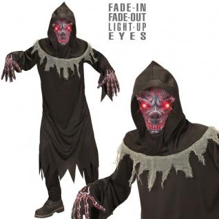 Dämon Geist Teufel mit leuchtenden Augen Gr.128 Kinder Kostüm Tod Halloween #876