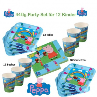 Peppa Wutz Set 2 für 12Kinder Teller Becher Servietten Kinder Geburtstag