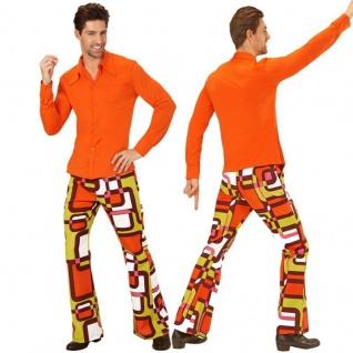 70er Disco Hippie SCHLAGHOSE tubes + HEMD orange - Herren Kostüm Schlagermove