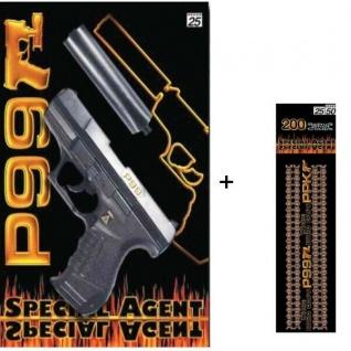 Special Agent P99 mit Schalldämpfer Knall-Pistole + 200 Schuss Kinder Spielzeug