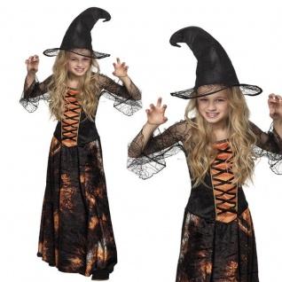 Zauberhafte Hexe Kinder Kostüm 140/152 (4-6 J.) Mädchen Halloween Zauberin #8136