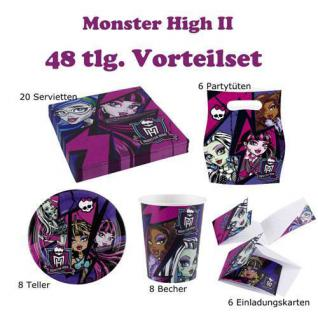 48 tlg. Party Set Monster High II Kinder Geburtstag Halloween Party Deko
