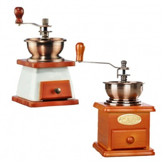 Hand Kaffeemühle mit Holzkurbel und Keramik Mahlwerk Handmühle 2 Modelle Auswahl