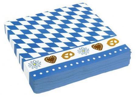20er Pack Oktoberfest Servietten Bayern Party blau-weiss mit Motiv 33 x33 cm