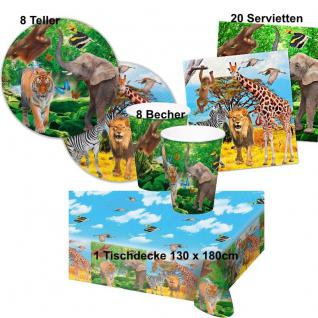 SAFARI Party Set Becher Servietten Teller Tischdecke -Kinder Geburtstag #FOL