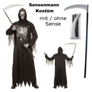 Herren Kostüm SENSENMANN MIT KETTE + Maske mit/ohne Sense - Halloween Gr. S - XL