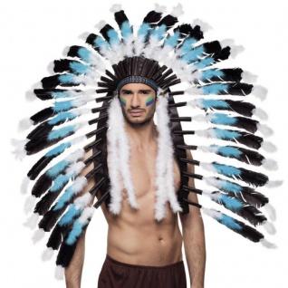 XL Indianer Kopfschmuck Weißer Wolf - Karneval Fasching Hut Kopfbedeckung #4141