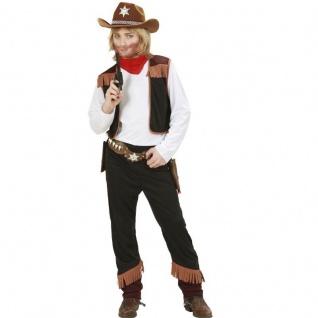 Kinder Jungen Western Cowboy Kostüm - Hemd mit Weste, Hose, Halstuch - PREISHIT