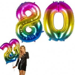 80.Geburtstag XXL FOLIENBALLON Zahl 86cm Regenbogen bunt Helium Luftballon