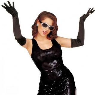 LANGE SCHWARZE HANDSCHUHE 60 cm Karneval Charleston Party Kostüm Zubehör 3421