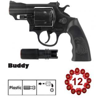 BUDDY Agent Revolver mit Schaldämpfer Kinder Spielzeug Pistole 12 Schuss