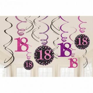 18. Geburtstag Party SWIRL GIRLANDE schwarz pink 12tlg. Raum Deko Glamour # 0581