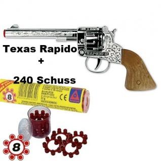 TEXAS RAPIDO Knall-Pistole mit 240 Schuß Munition Kinder Spielzeug Revolver