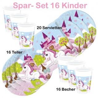 Kleines Einhorn 52 tlg.für 16 Kinder Party KINDER PARTY Teller Becher Servietten