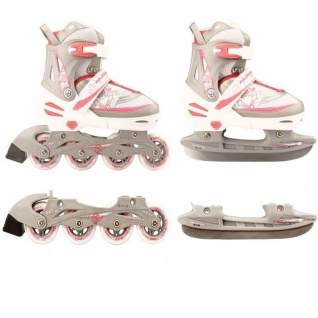 Kinder Inliner und Schlittschuhe 2 in 1 Größe verstellbar 27-30 weiß/pink Skater